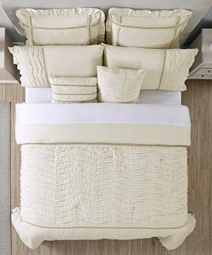 Amrapur Overseas Antonella 8 Piece Pleated King Sand Comforter Set Beige 0 1 300x360
