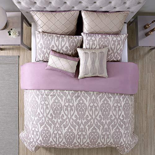 Amrapur Overseas Azlin 8 Piece Floral Damask Microfiber Comforter Set King 0 1