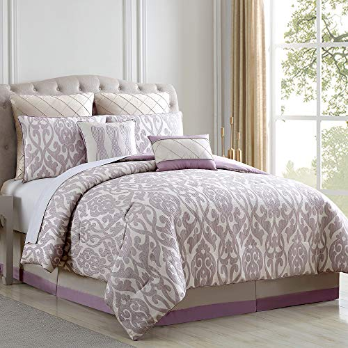 Amrapur Overseas Azlin 8 Piece Floral Damask Microfiber Comforter Set King 0