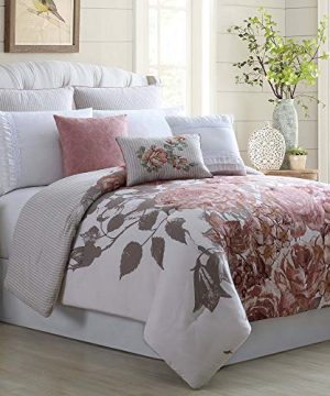 Amrapur Overseas Rose Farmhouse 8 Piece Embellished Comforter Set Queen Off White 0 300x360