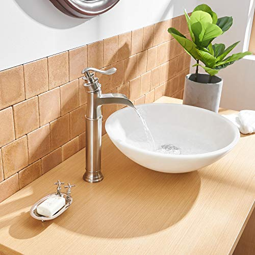 Aquafaucet Waterfall Bathroom Faucet Brushed Nickel Single Handle One Hole Vessel Sink Faucet Lavatory Tall Body Commercial 0 5