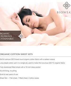 BIOWEAVES 100 Organic Cotton 4 Piece Bed Sheet Set 300 Thread Count Soft Sateen Weave GOTS Certified With Deep Pockets Full Natural 0 2 300x360