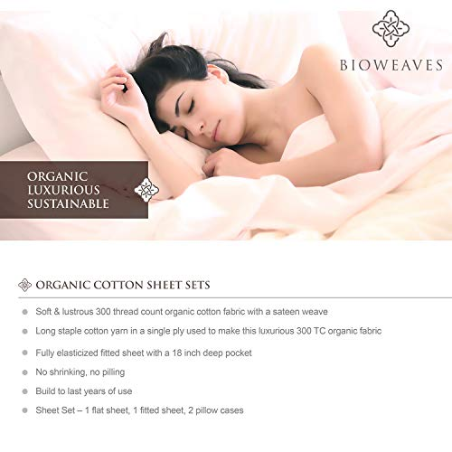 BIOWEAVES 100 Organic Cotton 4 Piece Bed Sheet Set 300 Thread Count Soft Sateen Weave GOTS Certified With Deep Pockets Full Natural 0 2