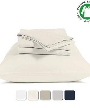 BIOWEAVES 100 Organic Cotton 4 Piece Bed Sheet Set 300 Thread Count Soft Sateen Weave GOTS Certified With Deep Pockets Full Natural 0 300x360