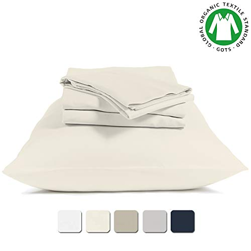 BIOWEAVES 100 Organic Cotton 4 Piece Bed Sheet Set 300 Thread Count Soft Sateen Weave GOTS Certified With Deep Pockets Full Natural 0