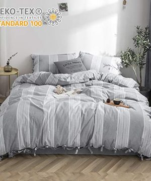 BISELINA 100 Washed Cotton Duvet Cover Set 3 Pieces Yarn Dyed Striped Reversible Soft Cozy Bowknot Ties Strap Design Queen Grey 0 300x360