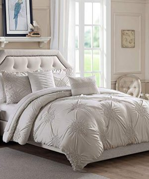 BOURINA King Comforter Set 5 Piece Round Floral Pinch Pleat Embroidered Microfiber Comforter Set King Ivory 0 300x360