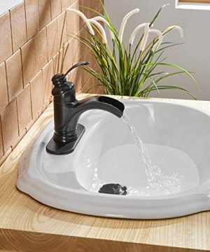 BWE Waterfall Single Handle Bathroom Sink Faucet Oil Rubbed Bronze Deck Mount Lavatory Commercial 0 2 300x360