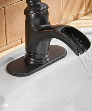 BWE Waterfall Single Handle Bathroom Sink Faucet Oil Rubbed Bronze Deck Mount Lavatory Commercial 0 3 300x360