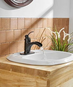 BWE Waterfall Single Handle Bathroom Sink Faucet Oil Rubbed Bronze Deck Mount Lavatory Commercial 0 4 300x360