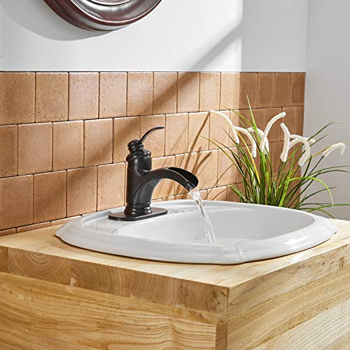 BWE Waterfall Single Handle Bathroom Sink Faucet Oil Rubbed Bronze Deck Mount Lavatory Commercial 0 4