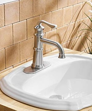 BWE Waterfall Single Handle One Hole Bathroom Sink Faucet Lavatory Faucets Deck Mount Brushed Nickel Commercial 0 3 300x360