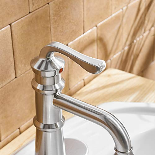 BWE Waterfall Single Handle One Hole Bathroom Sink Faucet Lavatory Faucets Deck Mount Brushed Nickel Commercial 0 4