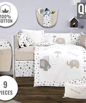 Baby Crib Bedding Set 100 Turkish Cotton 9 Piece Nursery Crib Bedding Sets For Boys Girls Elephant Design 4 Color Variations By QQ Baby Beige 0 300x360