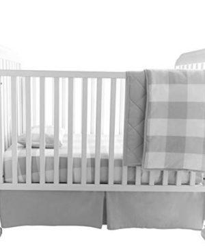 Baby Crib Set 4 Piece Crib SheetQuilted Blanket Crib Skirt Baby Pillow Case Gingham Design Grey 0 300x360