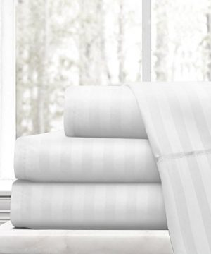 Beckham Hotel Collection Luxury Soft Brushed Microfiber 4 Piece Striped Sheet Set Hypoallergenic Stain Resistant With Embossed Stripes King White 0 300x360