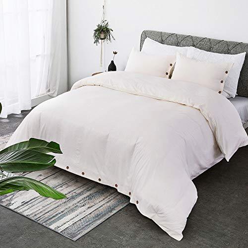 Bedsure 100 Washed Cotton Duvet Cover Sets King Size Cream Bedding Set 3 Pieces 1 Duvet Cover 2 Pillow Shams 0 0
