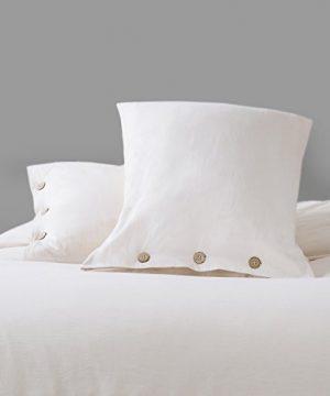 Bedsure 100 Washed Cotton Duvet Cover Sets King Size Cream Bedding Set 3 Pieces 1 Duvet Cover 2 Pillow Shams 0 1 300x360