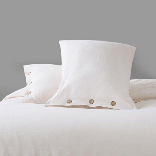 Bedsure 100 Washed Cotton Duvet Cover Sets King Size Cream Bedding Set 3 Pieces 1 Duvet Cover 2 Pillow Shams 0 1