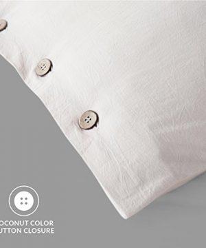 Bedsure 100 Washed Cotton Duvet Cover Sets King Size Cream Bedding Set 3 Pieces 1 Duvet Cover 2 Pillow Shams 0 2 300x360