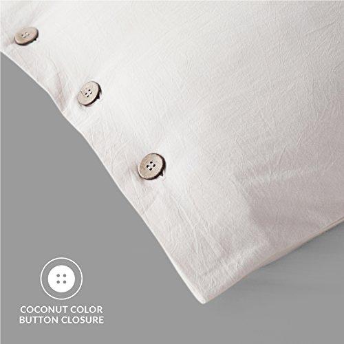 Bedsure 100 Washed Cotton Duvet Cover Sets King Size Cream Bedding Set 3 Pieces 1 Duvet Cover 2 Pillow Shams 0 2