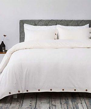 Bedsure 100 Washed Cotton Duvet Cover Sets King Size Cream Bedding Set 3 Pieces 1 Duvet Cover 2 Pillow Shams 0 300x360
