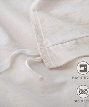 Bedsure 100 Washed Cotton Duvet Cover Sets King Size Cream Bedding Set 3 Pieces 1 Duvet Cover 2 Pillow Shams 0 4 300x360
