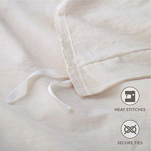 Bedsure 100 Washed Cotton Duvet Cover Sets King Size Cream Bedding Set 3 Pieces 1 Duvet Cover 2 Pillow Shams 0 4