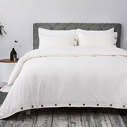 Bedsure 100 Washed Cotton Duvet Cover Sets King Size Cream Bedding Set 3 Pieces 1 Duvet Cover 2 Pillow Shams 0