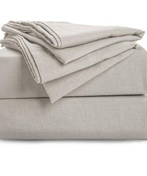 Bedsure 55 Linen 45 Cotton Sheet Set With Up To 16 Inches Deep Pocket Fitted Sheet Queen Size90 X 102 Inches 4 Pieces Ultra Soft Breathable Hypoallergenic Bed Sheets Greige Natural Color 0 300x360