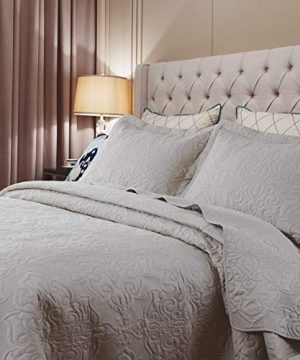 Bedsure Quilt Set Greige QueenFull Size90x96 Inches Damask Embroidered Pattern Bedspread Soft Microfiber Lightweight Coverlet For All Season 3 Pieces Included 1 Quilt 2 Shams 0 2 300x360