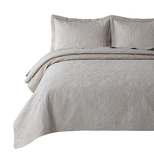 Bedsure Quilt Set Greige QueenFull Size90x96 Inches Damask Embroidered Pattern Bedspread Soft Microfiber Lightweight Coverlet For All Season 3 Pieces Included 1 Quilt 2 Shams 0