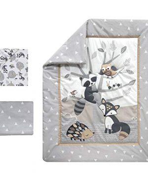 Bedtime Originals Little Rascals Forest Animals 3 Piece Crib Bedding Set GrayWhite 0 0 300x360