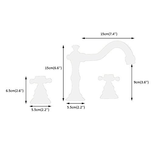 Beelee Deck Mounted Three Holes Double Handles Widespread Bathroom Sink Faucet Oil Rubbed Bronze 0 4