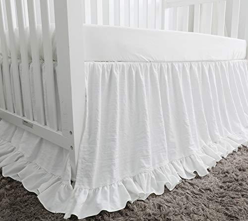 Blush Coral Pink Ruffle Crib Bedding Set Baby Girl Bedding Blanket Nursery Crib Skirt Set Baby Girl Crib Bedding Sheet White 4 Pieces Set With Rail Cover 0 3