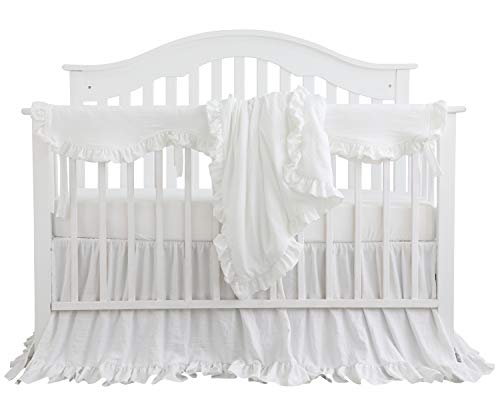 Blush Coral Pink Ruffle Crib Bedding Set Baby Girl Bedding Blanket Nursery Crib Skirt Set Baby Girl Crib Bedding Sheet White 4 Pieces Set With Rail Cover 0