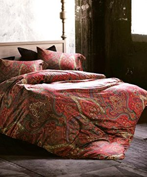 Boho Paisley Print Luxury Duvet Quilt Cover And Shams 3pc Bedding Set Bohemian Damask Medallion 350TC Egyptian Cotton Sateen Queen Spanish Red 0 300x360
