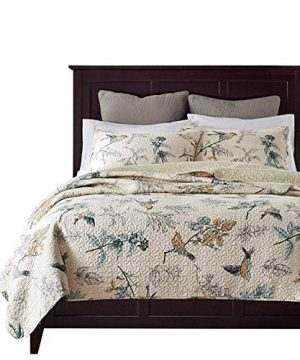 Brandream American Country Comforter Sets Birds Printing Queen Quilt Set Beige 3Pcs 0 300x360