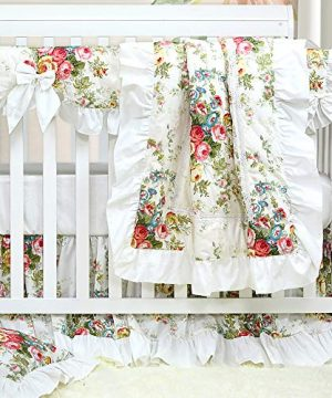Brandream Crib Bedding Sets For Girls Vintage Ruffled Floral Baby Nursery Crib Sets Sweet Chic Girls Bedding 100 Cotton 0 300x360