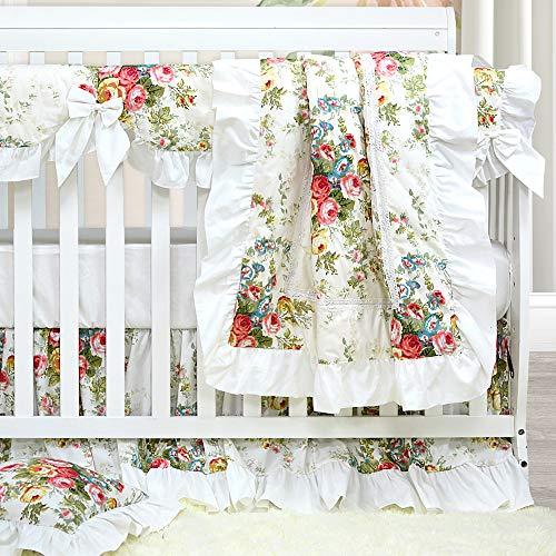 Brandream Baby Crib Bedding Sets for Girls Ruffled Rose ...