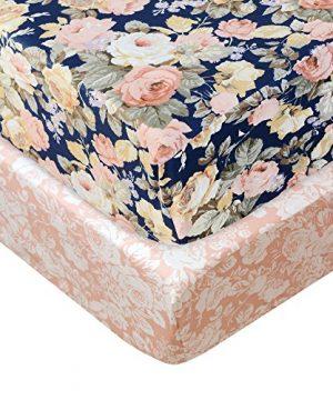 Brandream Floral Crib Sheet Blush Pink Floral Fitted Crib Sheet Chic Rose Baby Bedding Vintage Nursery Bedding Set For Girl Navy 2 Pack 0 300x360