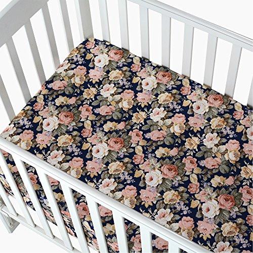 Brandream Floral Crib Sheet Blush Pink Floral Fitted Crib Sheet Chic Rose Baby Bedding Vintage Nursery Bedding Set For Girl Navy 2 Pack 0 4