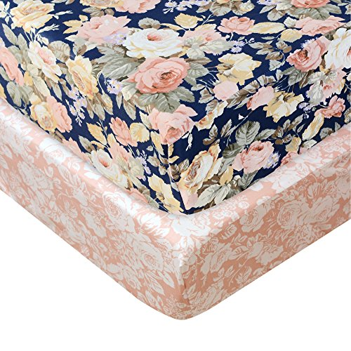 Brandream Floral Crib Sheet Blush Pink Floral Fitted Crib Sheet Chic Rose Baby Bedding Vintage Nursery Bedding Set For Girl Navy 2 Pack 0
