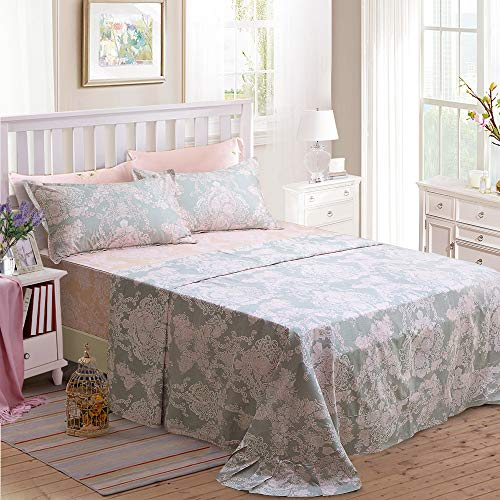 Brandream Full Size Sheets Cotton Set Farmhouse Bedding Sets Damask Sheets Set Blush Pink Bed Sheet Set Deep Pockets 18 Inch 0 1
