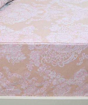 Brandream Full Size Sheets Cotton Set Farmhouse Bedding Sets Damask Sheets Set Blush Pink Bed Sheet Set Deep Pockets 18 Inch 0 3 300x360
