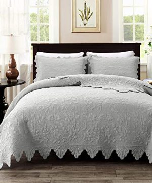 Brandream Luxury Farmhouse Bedding Set Grey Quilt Set Queen Size 100 Cotton Quilted Bedspread Coverlet Set90 X 96 0 300x360