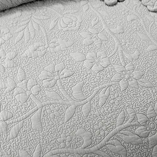 Brandream Luxury Farmhouse Bedding Set Grey Quilt Set Queen Size 100 Cotton Quilted Bedspread Coverlet Set90 X 96 0 5