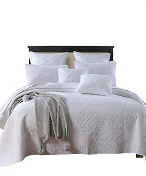 Brandream Luxury White Bedding Set 3 Piece Oversized Bedspread Quilt Set Queen Size 0 300x360