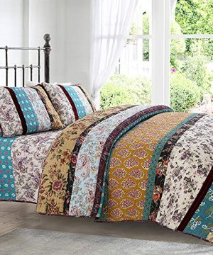 Brandream Queen Size Quilt Set Bohemian Farmhouse Vintage Summer Comforter Set 100 Cotton Boho Bedding Set Quilted Bedspread Coverlet Set 0 300x360