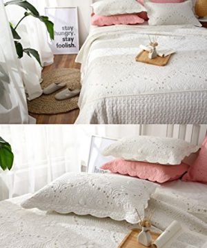 Brandream Romantic Cream White Bedding Quilt Set Queen King Size Embroidery Vintage Bedspread Coverlet Set 0 0 300x360